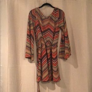Boho chic burnt orange multicolor day dress